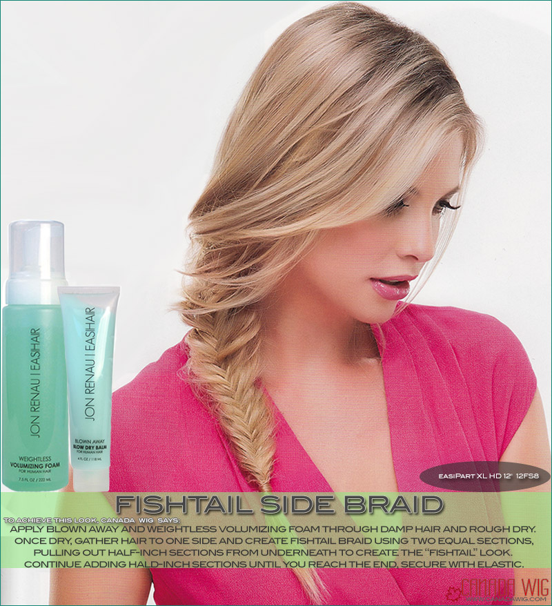 easiPart styling creating a Fishtail Side Braid with your Hair Topper  | Canada Wigs
