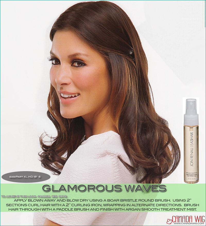 easiPart styling of Glamorous Waves on your Hair Topper Top Piece | Canadawig.com