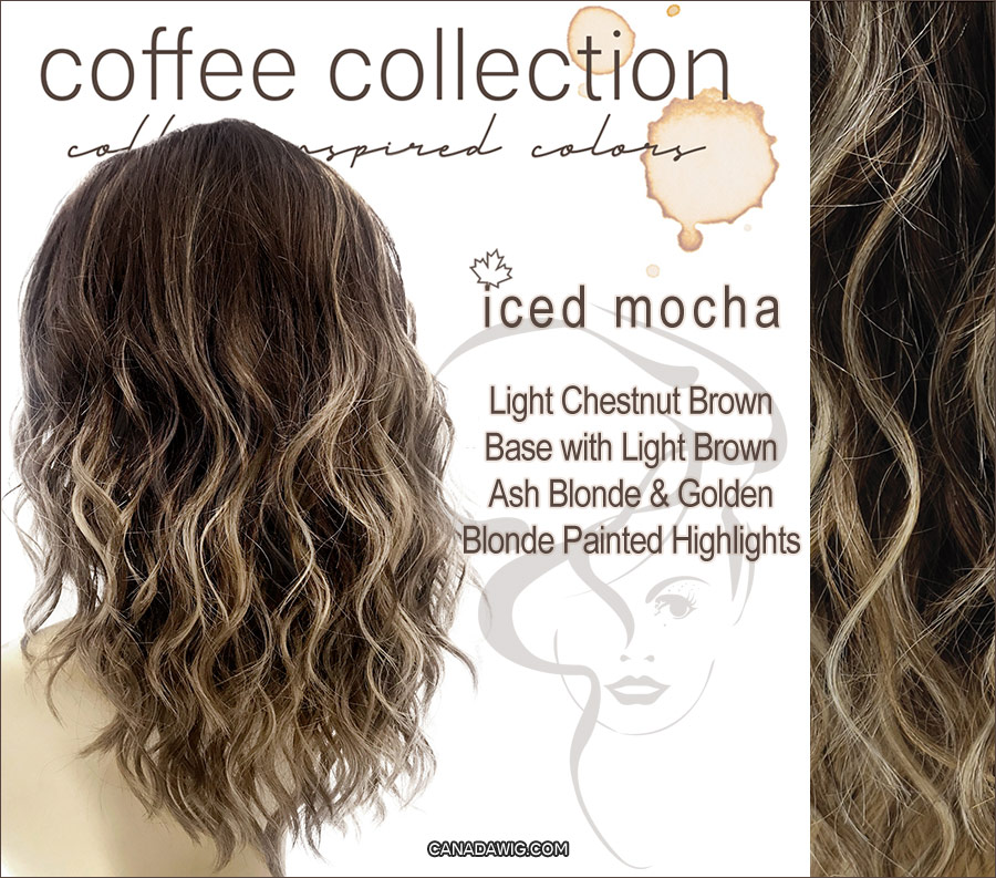 Iced Mocha - Light Chestnut Brown Base with Light Brown, Ash Blonde and Golden Blonde Painted Highlights