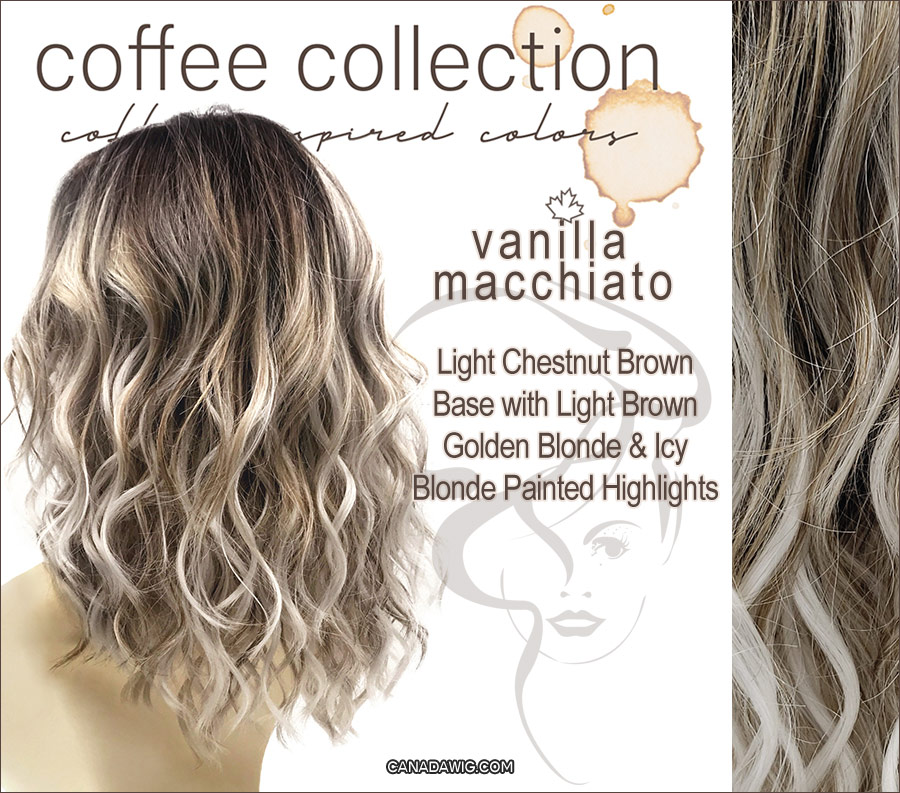 Vanilla Macchiato - Light Chestnut Brown Base with Light Brown, Golden Blonde and Icey Blonde Painted Highlights