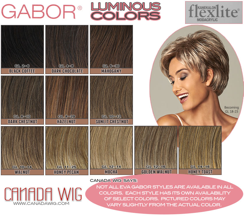 Eva Gabor Wig Collection Luminous Color Charts   www.canadawig.com