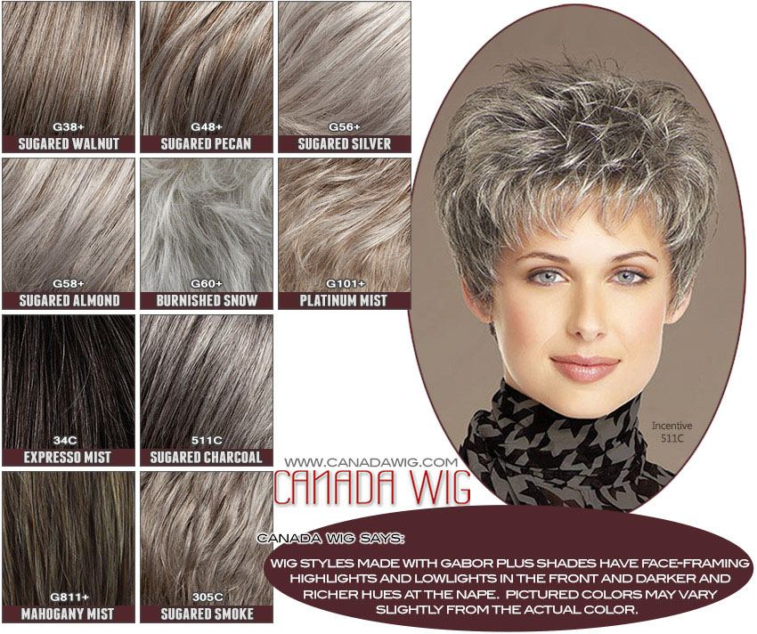 Gabor Wig Collection Plus Colorchart - Grey Wigs - www.canadawig.com