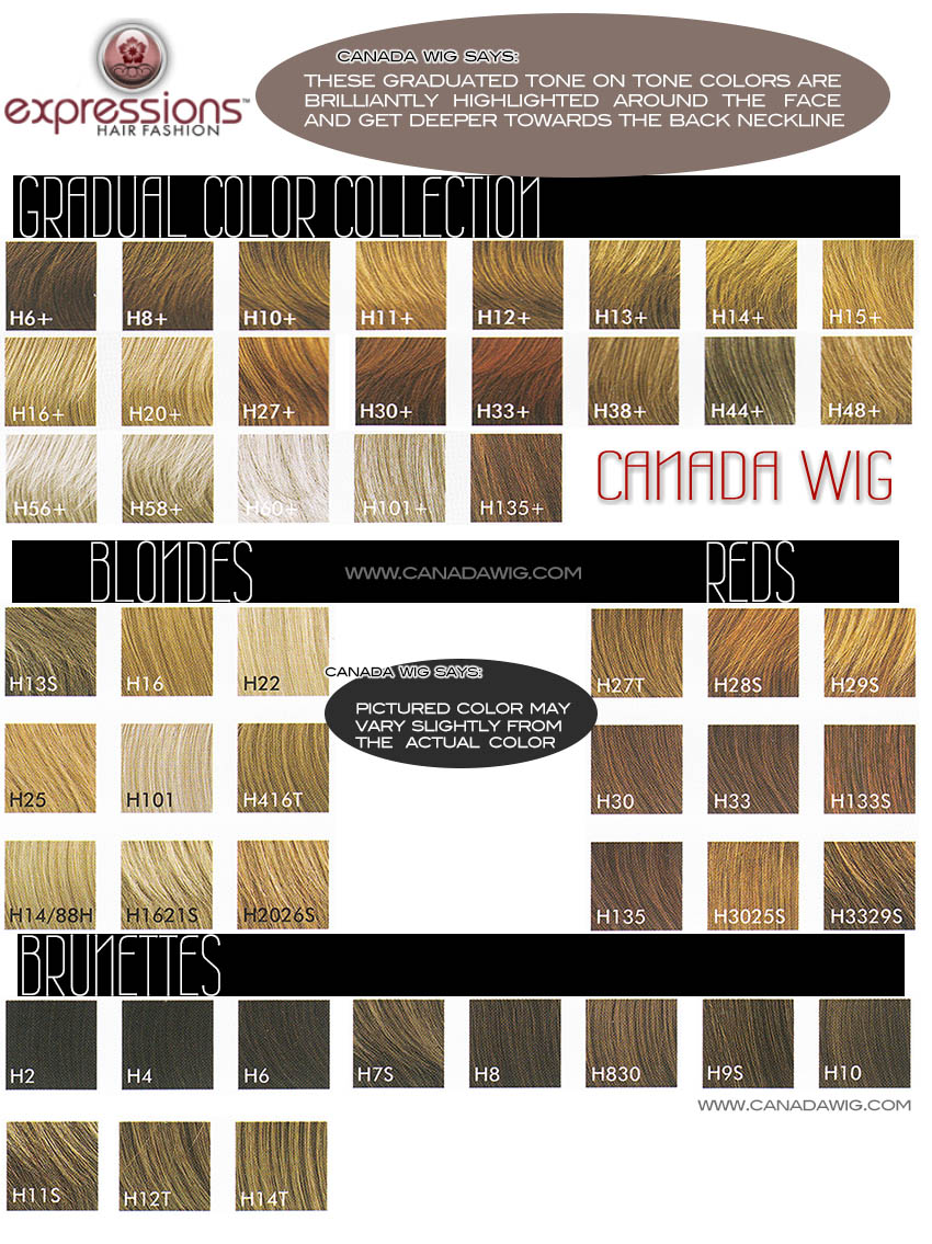 Expressions Hair Fashion Colorcharts | www.canadawig.com