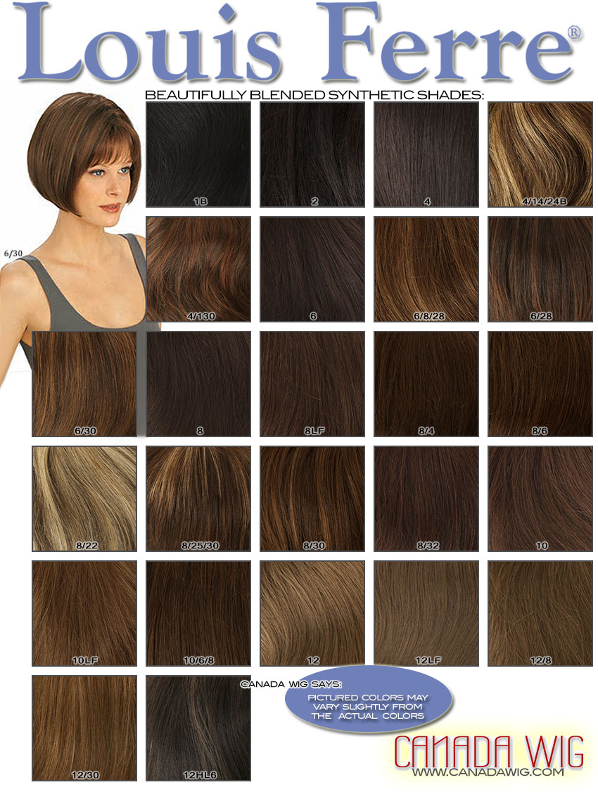 Louis Ferre Wigs Synthetic Colorchart - Canadawig.com - Wigs, Hairpieces & Toppers