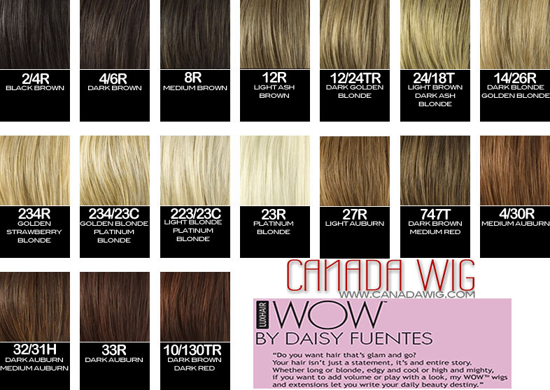 Luxhair WOW by Daisy Fuentes Colorcharts | CanadaWig.com
