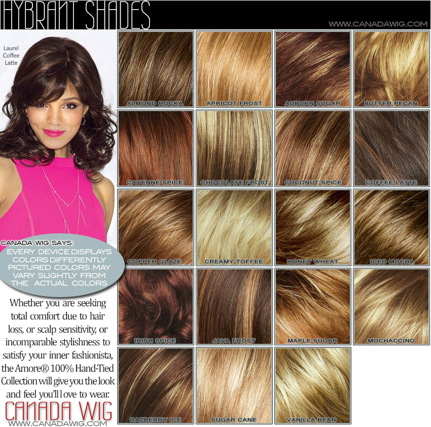 Rene of Paris, Noriko and Amore Color Chart Canada Wigs